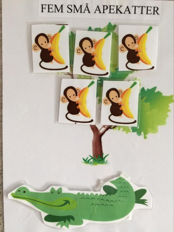Fem små apekatter satt oppi et tre